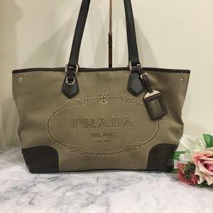 💯 Authentic Prada Tan Leather Canvas Tote Bag
